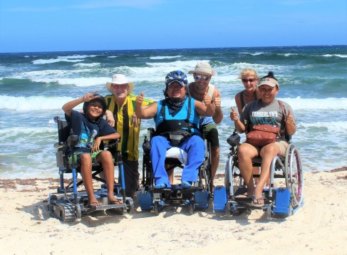 Gabi and his family at the beach on Freedom Trax