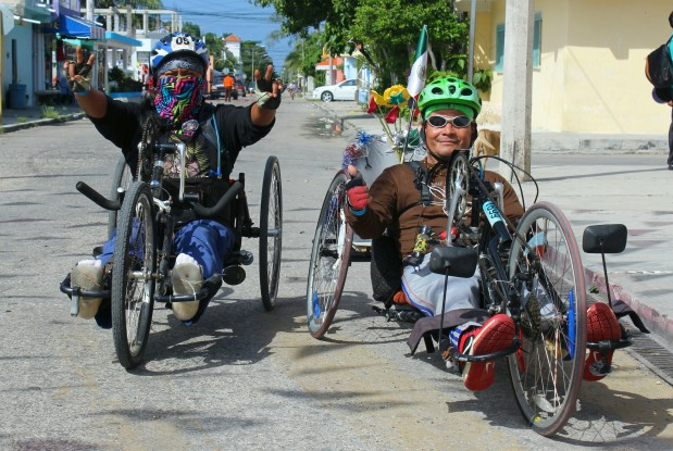 Gabi and friend hand biking through Cozumel.