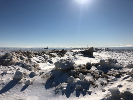 Ice, sunshine, and shadow on Lake Michigan